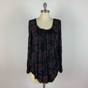 Free People Black Tunic with Flowers